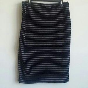 Mossimo Black Gray Stripe Pencil Skirt XL